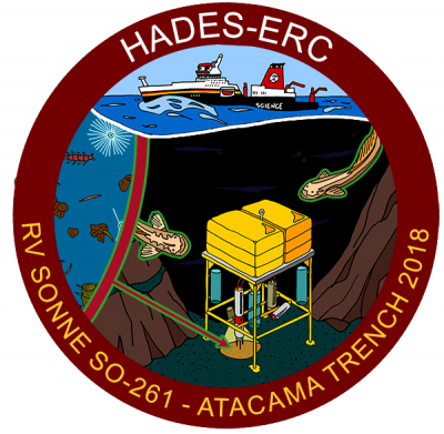 Official logo of the current voyage to Atacama Trench. The drawing shows a lander on the bottom of the trench taking samples from the sediments. (Max Planck Institute for Marine Microbiology)