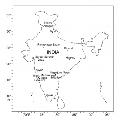 Map of sampled reservoirs in India (Source: Supplementary material of the original publication, Nature Communications)